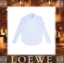 18SS◆LOEWE◆Wing Collar Patchw Stripes white/blue