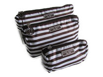 Henri Bendel Packable Travel Trio brown and white stripe