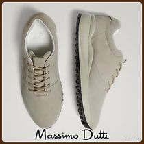 MassimoDutti♪SAND-COLOURED SPLIT SUEDE LEATHER SNEAKERS