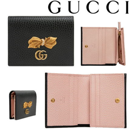 GUCCI 折りたたみ財布 グッチ Leather card case with bow ミニ財布 ブラック 524289