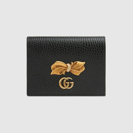 GUCCI 折りたたみ財布 グッチ Leather card case with bow ミニ財布 ブラック 524289(2)