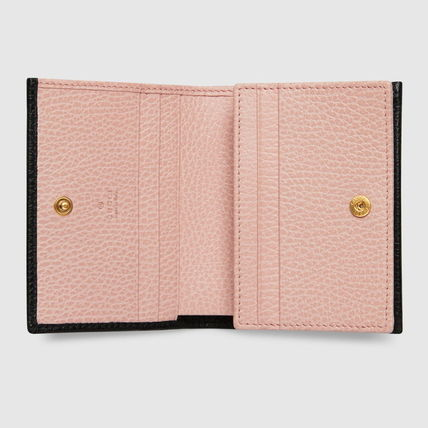 GUCCI 折りたたみ財布 グッチ Leather card case with bow ミニ財布 ブラック 524289(3)