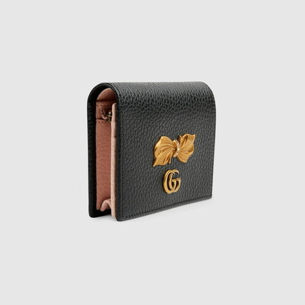 GUCCI 折りたたみ財布 グッチ Leather card case with bow ミニ財布 ブラック 524289(5)