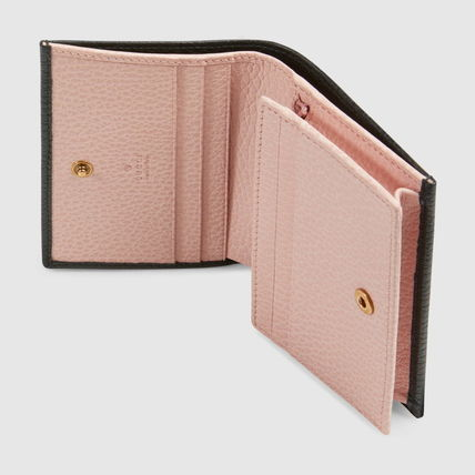 GUCCI 折りたたみ財布 グッチ Leather card case with bow ミニ財布 ブラック 524289(7)
