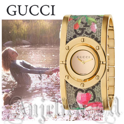 ★関税送料込★GUCCI Twirl Bloom GoldTone and Floral YA112443