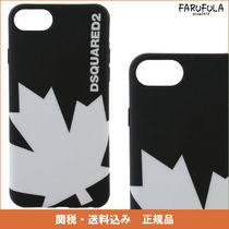 DSQUARED2 プリント iphone 7 ケース 黒×白 ロゴ