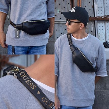追尾関税/送料込 GUESS GYM EMBOSSED LOGO WAIST PACK