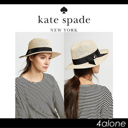 Kate Spade New York Womens Bee Hardware Tribly Hat Natural One Size ... 1a48de8a143