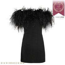 処分SALE▼Off-the-shoulder Ostrich featherトリム ワンピース