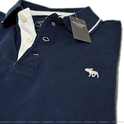 Abercrombie & Fitch ポロシャツ アバクロンビー&フィッチ ストレッチ ポロシャツ 紺 前立て白 (4)
