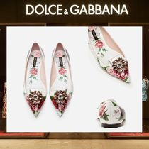18AW Dolce & Gabbana☆プリントエナメルブローチオペラシューズ