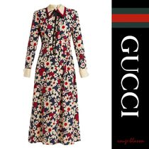 【国内発送】GUCCI ワンピース Butterfly-embroidery dress