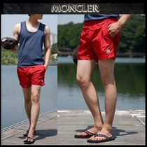 【MONCLER】18SS ロゴパッチ 水着 ハーフパンツ RED/安心追跡付