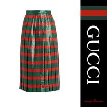 【国内発送】GUCCI スカート Striped pleated lame skirt