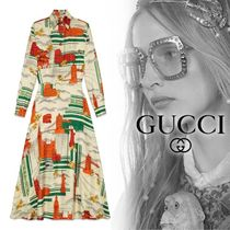 18AW グッチ Illustrated Gucci Cities silk dress シルクドレス