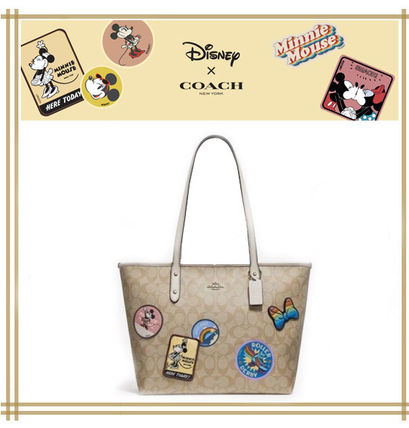 DISNEYxCOACH★CITY ZIP TOTE IN SIGNATURE WITH MINNIE MOUSE