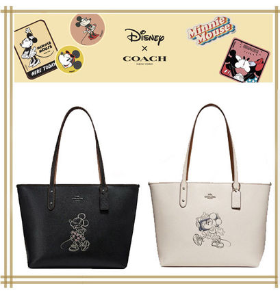 DISNEYxCOACH★CITY ZIP TOTE WITH MINNIE MOUSE MOTIF F31207