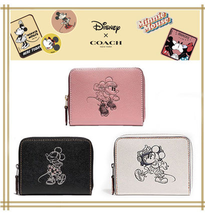 DISNEYxCOACH★SMALL ZIP WALLET WITH MINNIE MOUSE  F29377