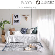 DECO VIEW★Navy Stone Washing Cotton Rug -(150X90)