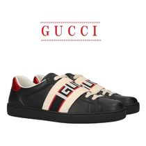 【GUCCI】Ace leather sneakers with Gucci stripe☆