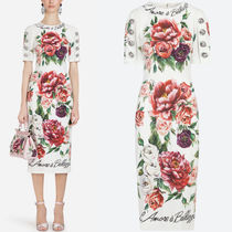 18-19AW DG1600 PEONY PRINT CADY DRESS WITH JEWELRY BUTTON