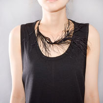ANN DEMEULEMEESTER NECKLACE FEATHER BLACK RIBBON BLACK