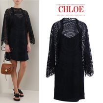 【CHLOE】lace midi dress with cape sleevesレースミディドレス