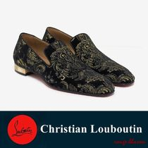 【国内発送】Colonnaki Flat Black Velvet Embroidered Loafers