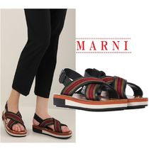 【MARNI】platform sandals /canvas and leather☆関税・送料込
