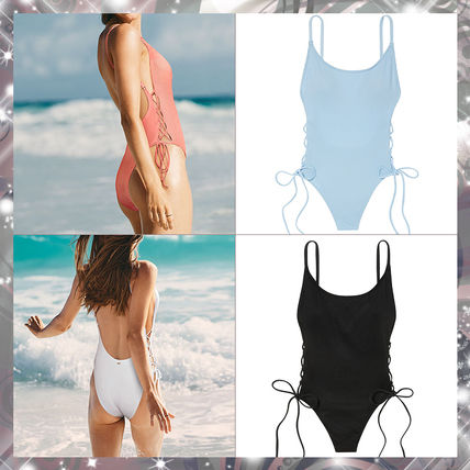 ★VS PINK★リブ地レースアップ水着☆Ribbed Lace-Up One-Piece