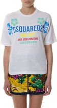DSQUARED2▽ss18 WHITE プリント MULTICOLORED ロゴ  Tシャツ