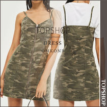 【国内発送・関税込】TOPSHOP★Camo Zip Up Denim Dress