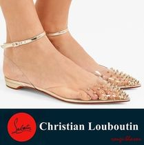 Spikoo spiked PVC and mirrored-leather point-toe flats
