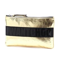 JIMMY CHOO ポーチ nina-l-cik-gold-bk