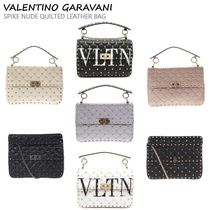 VIP価格!VALENTINO SPIKE IVORY QUILTED LEATHER BAG♪