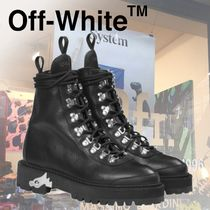 18AW 新作 オフホワイト LEATHER HIKING BOOTS ブーツ 黒