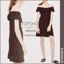 【国内発送・関税込】TOPSHOP★Striped Frill Bardot Dress