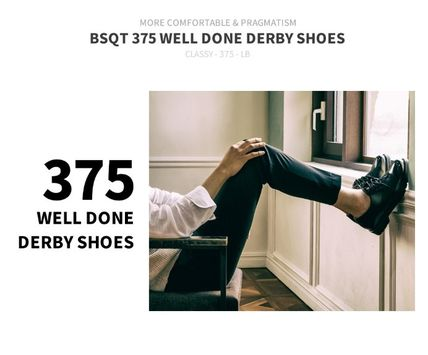 BSQT ドレスシューズ・革靴・ビジネスシューズ BSQT 375 WELL DONE DERBY CLASSIC SHOES ★シークレット 厚底★(11)