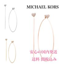 *国内発送* ピアス MK Pave Heart Charm Hoop Earrings