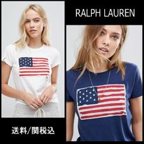 【Ralph Lauren】Polo Flag Logo T-シャツ  ホワイト ブルー ♪