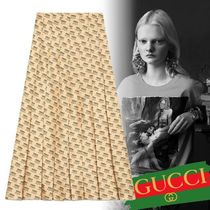 18AW グッチ The Gucci stamp print skirt プリントスカート 白
