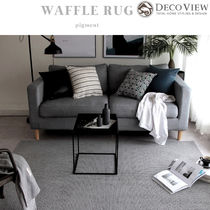 DECO VIEW★COTTON PIGMENT WAFFLE RUG - GRAY (150X100)