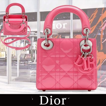 "Dior 子供用ショルダー・ポシェット・ボディバッグ Nano""LADY DIOR"" Bag in Patent Calfskin ピンク 関税送料込み"