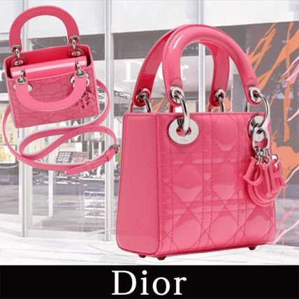 "Dior 子供用ショルダー・ポシェット・ボディバッグ Nano""LADY DIOR"" Bag in Patent Calfskin ピンク 関税送料込み(2)"