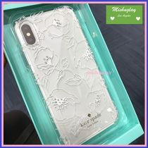 【kate spade】キラキラのWhite Floral♪ iPhone X case★クリア