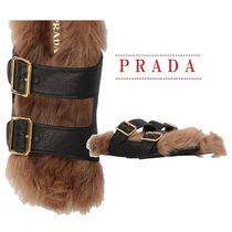 【PRADA】shearling lined leather slide sandals☆関税・送料込