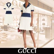 GUCCI Contrast Panels Crepe dress ホワイト 関税送料込み