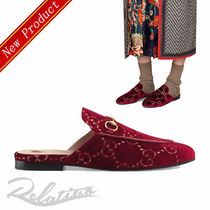 ★18AW★【GUCCI】Princetown GG ベルベット ミュール/Red