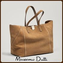 MassimoDutti♪SPLIT SUEDE TOTE BAG WITH METAL CLASP