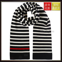 【サンローラン】Striped Wool Scarf Black Ivory Red